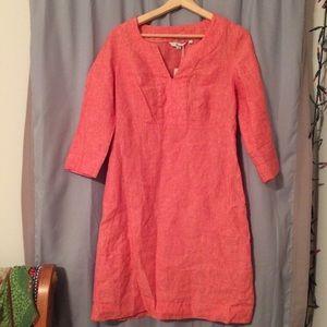 Boden orange-red 3/4 sleeve linen dress